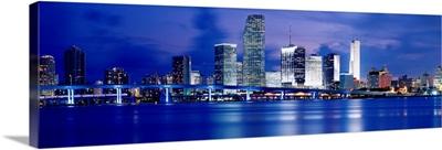Florida, Miami, Panoramic view of an urban skyline at night