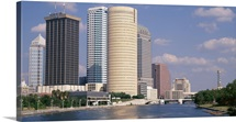 Florida, Tampa, Hillsborough River, Panoramic view of waterfront and skyline
