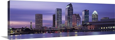 Florida, Tampa, View of an urban skyline at night