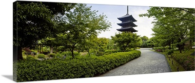 Formal garden in front of a temple, Toji Temple, Kyoto Prefecture, Japan