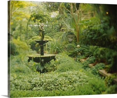 Fountain in a garden, Secret Garden, Savannah, Georgia