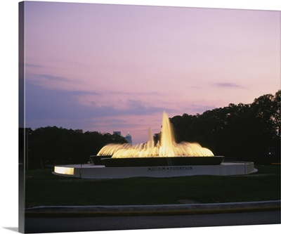 Fountain in a park at dusk, Mecom Fountain, Houston, Texas