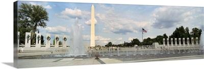 Fountains at a memorial, National World War II Memorial, Washington Monument, Washington DC