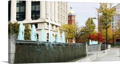 Fountains in front of a memorial, US Navy Memorial, Washington DC