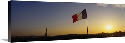 French flag waving in the wind, Paris, France
