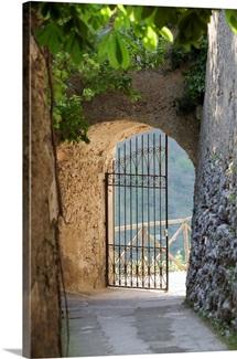 Gate of a villa, Ravello, Salerno, Campania, Italy
