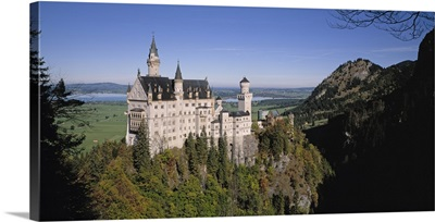 Germany, Bavaria, Aerial view of a castle on a mountain