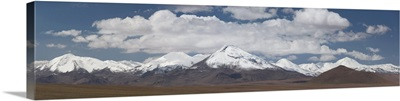 Geyser field with mountain range in the background, El Tatio, Andes, Chile