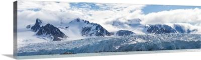 Glacier and mountains, Spitsbergen, Svalbard Islands, Norway