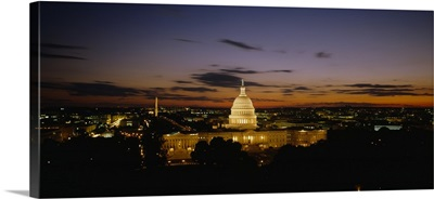 Government building lit up at night, US Capitol Building, Washington DC