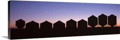 Grain Silos at Sundown