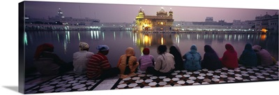 Group of people at a temple Golden Temple Amritsar Punjab India