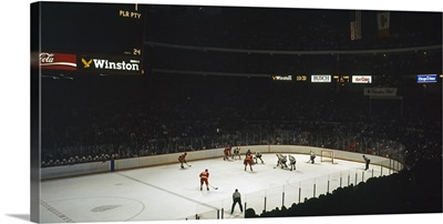 Group of people playing ice hockey Chicago Illinois