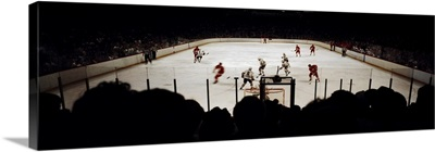 Group of people playing ice hockey, Chicago, Illinois