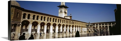 Group of people walking in the courtyard of a mosque, Umayyad Mosque, Damascus, Syria