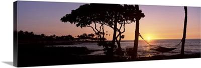 Hammock on the beach at sunset, Fairmont Orchid, Hawaii