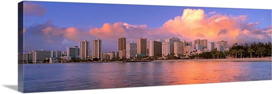 Panoramic Wall Art hawaii, oahu, waikiki beach, panoramic view of an urban skyline