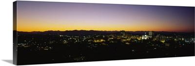 High angle view of a city at dusk, Asheville, North Carolina