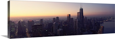 High angle view of a city at dusk, Lake Michigan, Chicago, Cook County, Illinois,