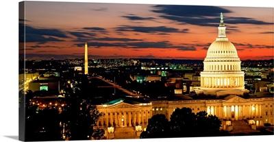 High angle view of a city lit up at dusk, Washington DC