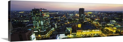 High angle view of a city lit up at night, Ho Chi Minh City, Vietnam