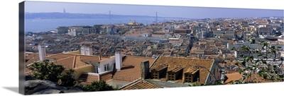 High angle view of a city viewed from a castle, Castelo De Sao Jorge, Lisbon, Portugal