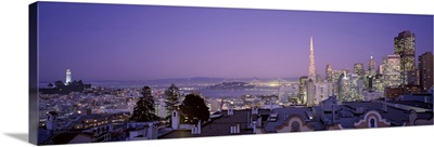 High angle view of a cityscape from Nob Hill, San Francisco, California,