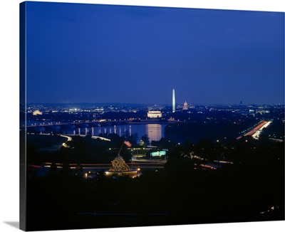 High angle view of a cityscape with monuments in the background, Washington Monument, Lincoln Memorial, Capitol Building, Washington DC