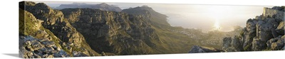 High angle view of a coastline, Camps Bay, Table Mountain, Cape Town, South Africa