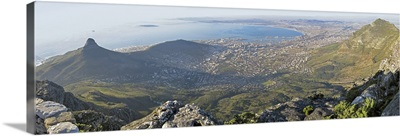 High angle view of a coastline, Table Mountain, Cape town, South Africa