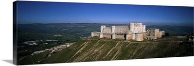 High angle view of a fort, Crac Des Chevaliers Fortress, Crac Des Chevaliers, Syria