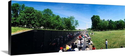 High angle view of a group of people standing in front of a monument, Vietnam Veterans Memorial, Washington DC