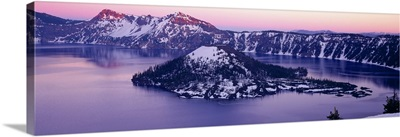 High angle view of a lake, Crater Lake, Crater Lake National Park, Oregon