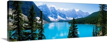 High angle view of a lake, Moraine Lake, Valley of ten peaks, Banff National Park, Alberta, Canada