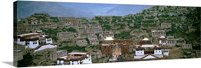 High angle view of a monastery, Ganden Monastery, Tibet