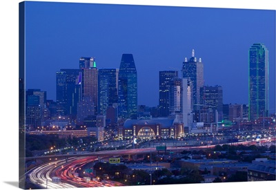 High angle view of a multiple lane highway in front of a city, Interstate-35E, Dallas, Texas