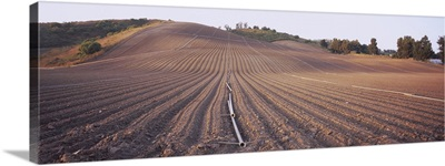 High angle view of a plowed field, Camarillo, California