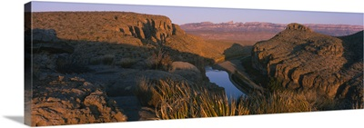 High angle view of a river passing through a landscape, Rio Grande River, Big Bend National, Park, Texas