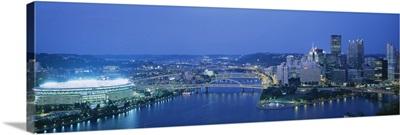 High angle view of a stadium lit up at night, Three Rivers Stadium, Pittsburgh, Pennsylvania