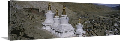 High angle view of a stupa, Buddhist Stupas, Tibet