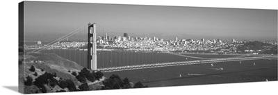High angle view of a suspension bridge across the sea, Golden Gate Bridge, San Francisco, California