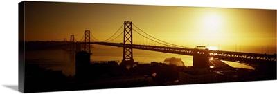 High angle view of a suspension bridge at sunset, Bay Bridge, San Francisco, California