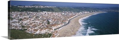 High angle view of a town, Nazare, Leiria, Portugal
