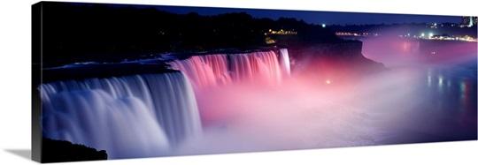 High angle view of a waterfall at night, Niagara Falls, New York State