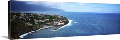 High angle view of an island, Ponta Delgada, Madeira, Portugal