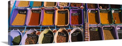 High angle view of assorted spices at a spice stall, Tataouine, Tunisia
