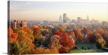 High angle view of autumn trees in a city, Hartford, Connecticut