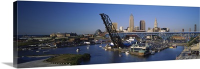 High angle view of boats in a river, Cleveland, Ohio