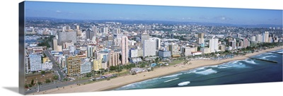 High angle view of buildings at the beachfront, Durban, South Africa