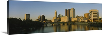 High angle view of buildings at the waterfront, Columbus, Ohio